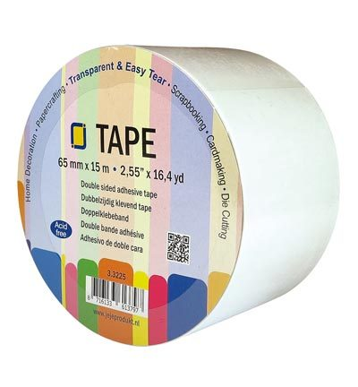 3.3225 Double sided clear adhesive tape 65 mm x 15 meter