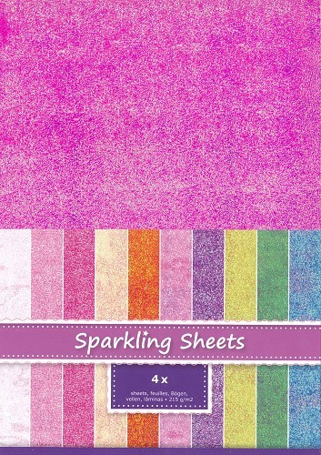 8.6960 Sparkling Sheets Fuchsia, 4 sheets A4