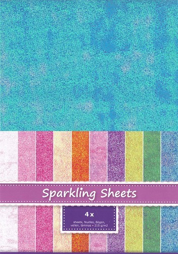 8.7000 Sparkling Sheets Blue, 4 sheets A4