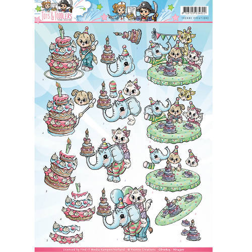 CD10825 - HJ14301 3D Knipvel - Yvonne Creations - Tots and Toddlers - Verjaardag