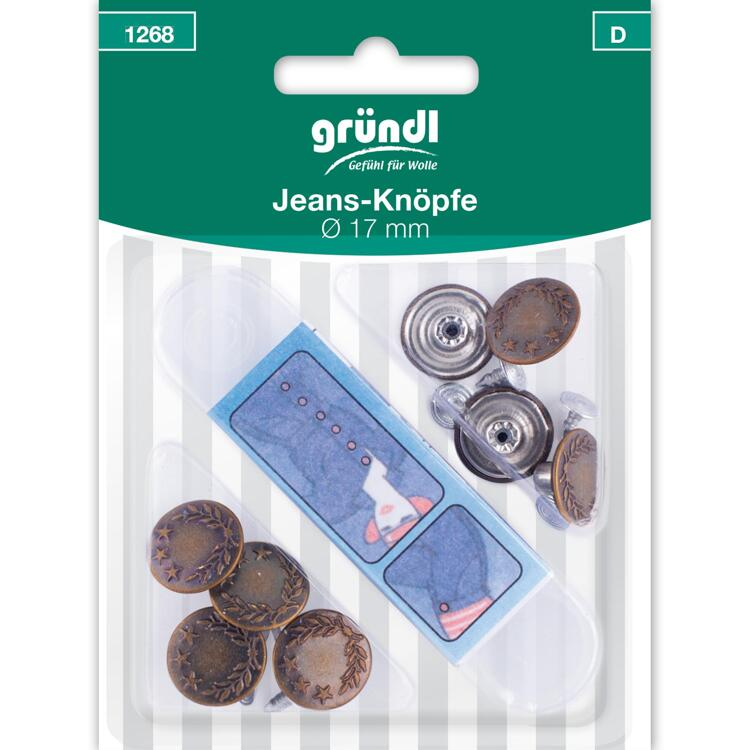 1268 buttons for jeans, Ø 17 mm, 8 pieces