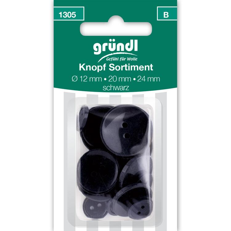 1305 Bouton assort., Ø 12/20/24 mm, 21 pcs, noir