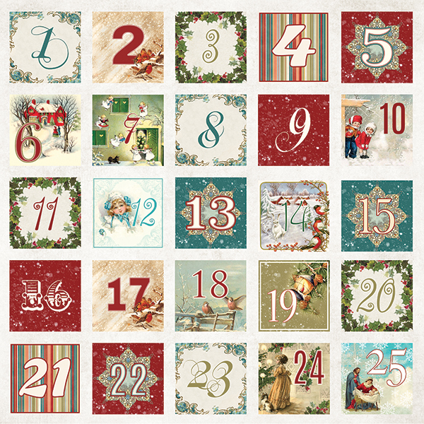CP-WC07 WHITE CHRISTMAS Sheet of elements to be cut out 12x12(200gsm)