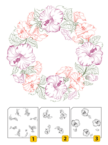 LCS001 Layered Clear stamps - Wreath-1 (3 pcs)