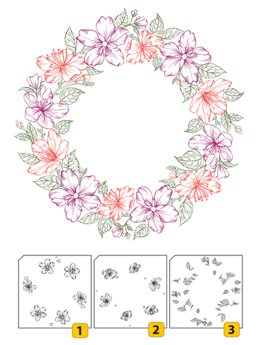 LCS002 Layered Clear stamps - Wreath-2 (3 pcs)