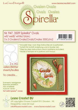 947.3509 Spirella 9 pre-cut ovals 300 gr. 3 different sizes, white incl. instructions and 6 patterns