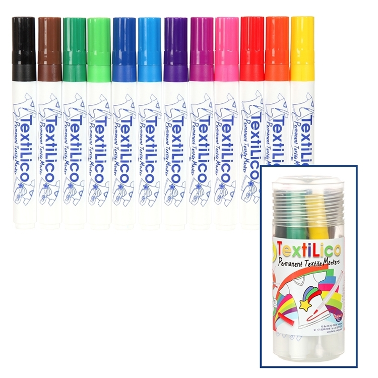 COLPTXL90 Collall Permanentmarker - textielstift 12st assortie