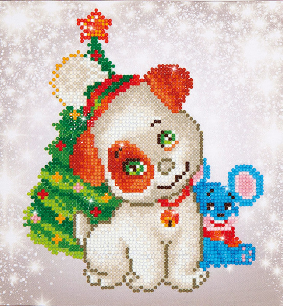 DD3.012 Diamond Dotz - 23x25cm - Christmas Pup & Mouse
