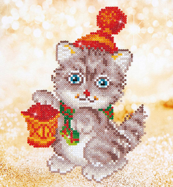 DD3.013 Diamond Dotz - 23x25cm - Christmas Kitten Glow