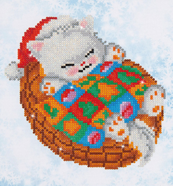 DD3.017 Diamond Dotz® - 23x25cm - Snug Christmas Kitty