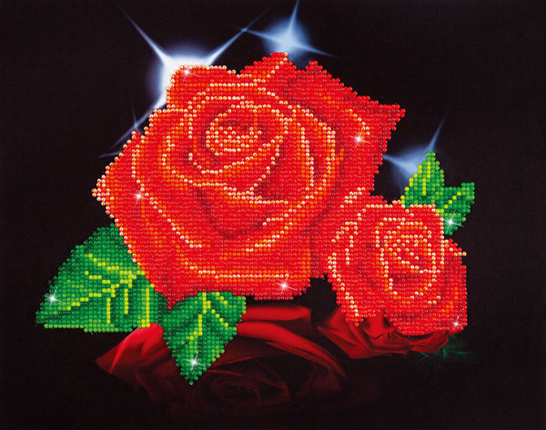 DD5.002 DIAMOND DOTZ® - 27.90x35.50cm - Red Rose Sparkle