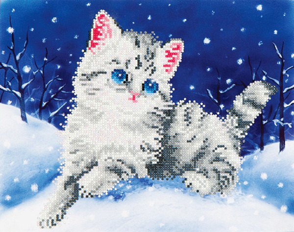 DD5.006 DIAMOND DOTZ® - 27.9x35.5cm - Kitten in the Snow