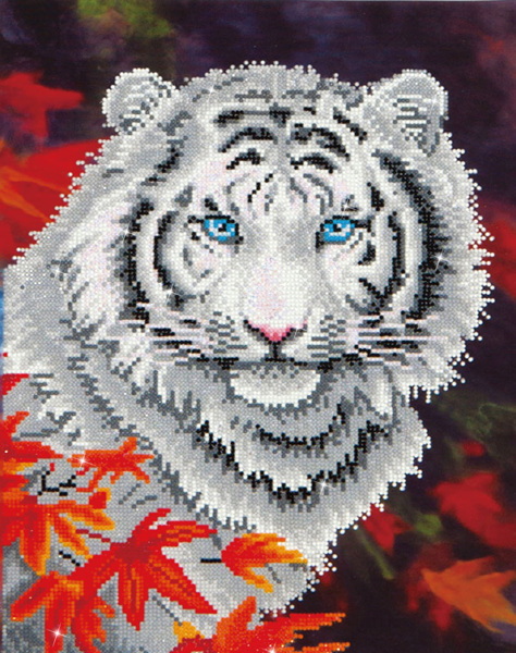 DD7.006 Diamond Dotz - 45,7x35,5cm - White Tiger in Autumn