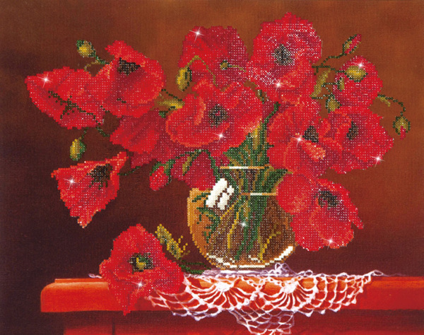 DD9.002 DIAMOND DOTZ® - 50.8x40.6cm - Red Poppies