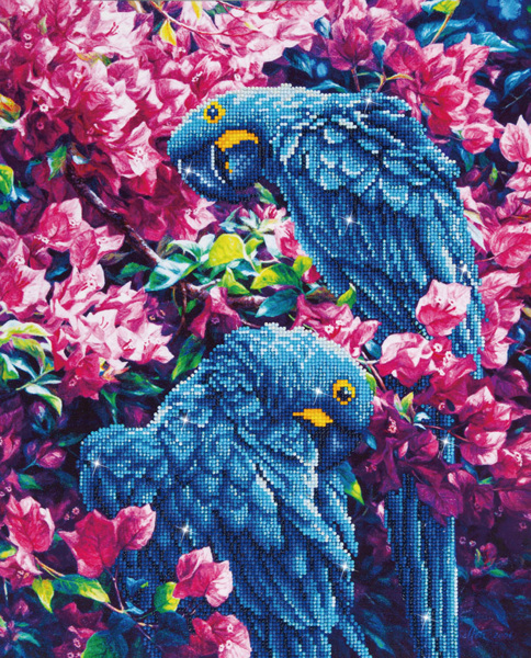 DD10.002 Diamond Dotz - 52x42cm - Blue Parrots