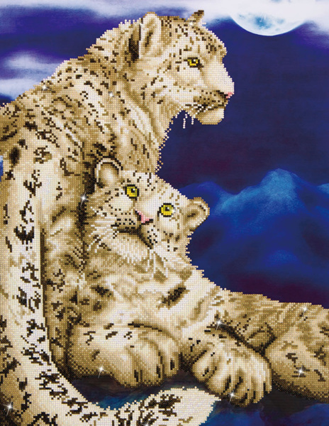 DD12.004 Diamond Dotz - 52x77cm - Snow Leopards (#1901)