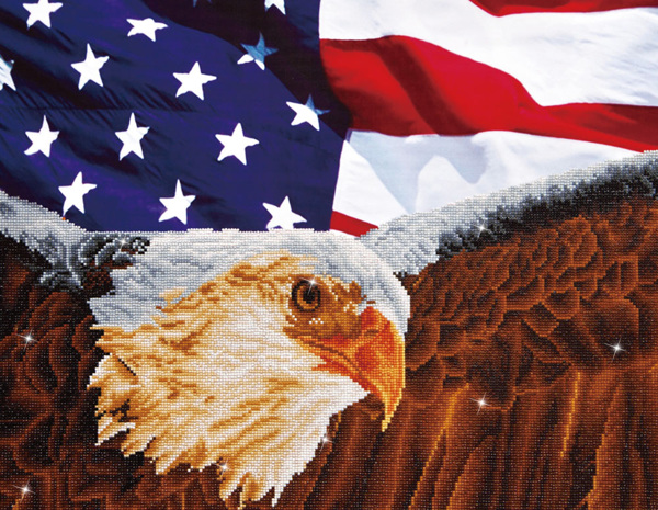 DD13.003 Diamond Dotz - 71x56cm - Bald Eagle with American Flag