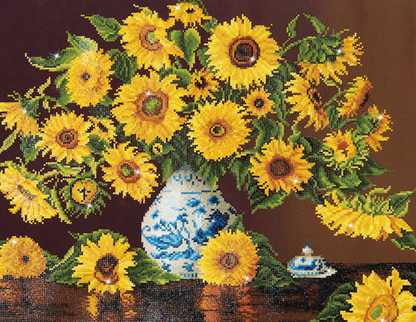 DD13.006 Diamond Dotz® - 71x56cm - Sunflowers in a china vase