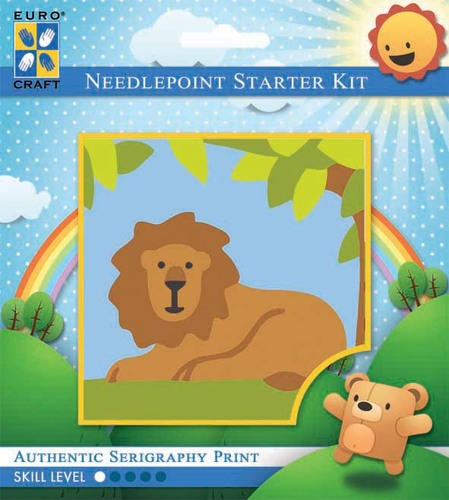 1025K - Eurocraft NEEDLEPOINT KIT 10x10cm Lazy Lion