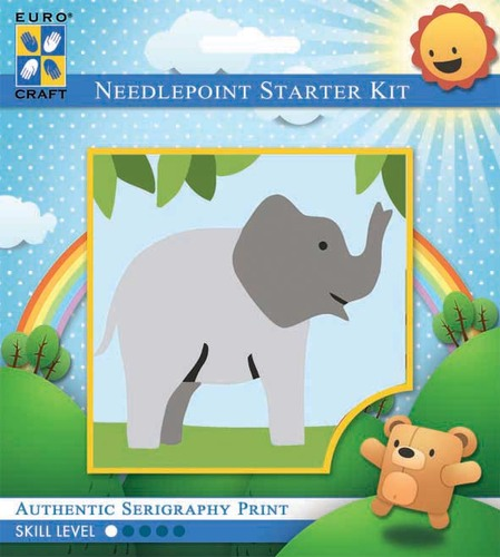 1026K - Eurocraft NEEDLEPOINT KIT 10x10cm Trumpeting Elephant