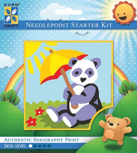 1027K - Eurocraft NEEDLEPOINT KIT 10x10cm Sunbathing Panda