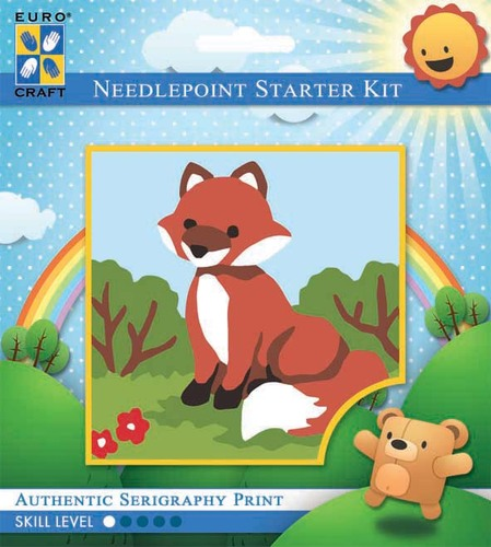1029K - Eurocraft NEEDLEPOINT KIT 10x10cm Smiling Fox