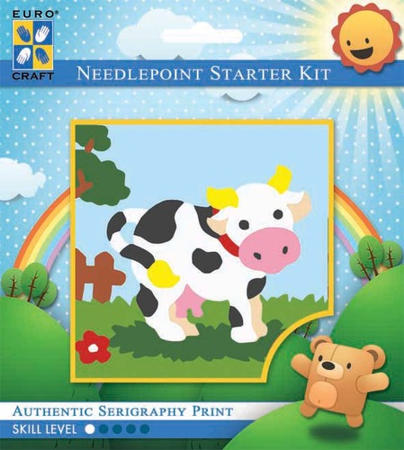 1031K - Eurocraft NEEDLEPOINT KIT 10x10cm Molly Moo Cow