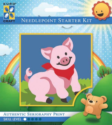 1033K - Eurocraft NEEDLEPOINT KIT 10x10cm Grinning Pig