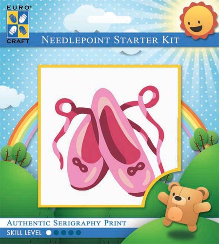 1037K - Eurocraft NEEDLEPOINT KIT 10x10cm Pink Ballet Slippers