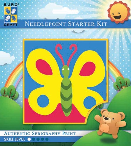 1038K - Eurocraft NEEDLEPOINT KIT 14x18CM Bold Butterfly