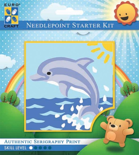 1042K - Eurocraft NEEDLEPOINT KIT 10x10cm Sunrise Dolphin