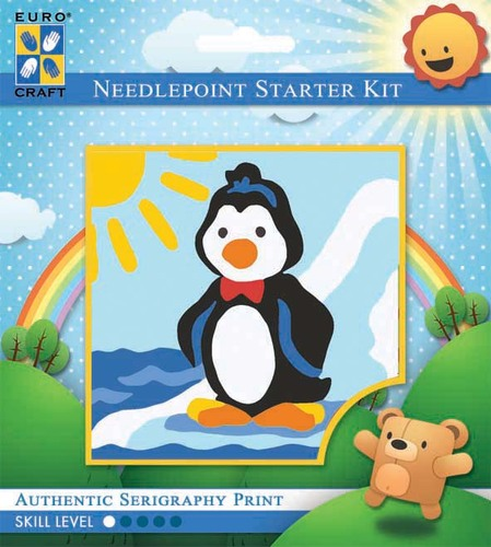 1044K - Eurocraft NEEDLEPOINT KIT 10x10cm Dancing Penguin