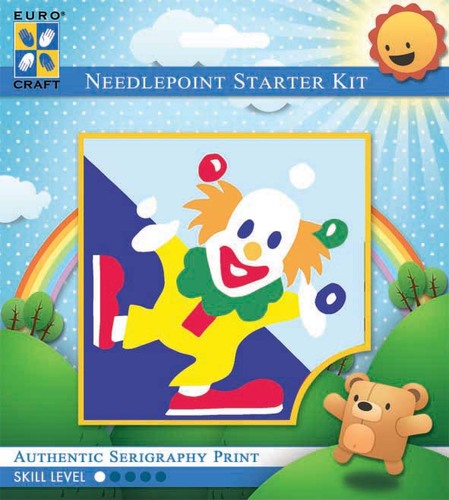 1045K - Eurocraft NEEDLEPOINT KIT 10x10cm Juggling Clown