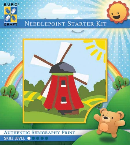 1047K - Eurocraft NEEDLEPOINT KIT 10x10cm Traditional Windmill