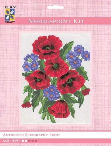 3043K - Eurocraft NEEDLEPOINT KIT 14x18cm Poppies