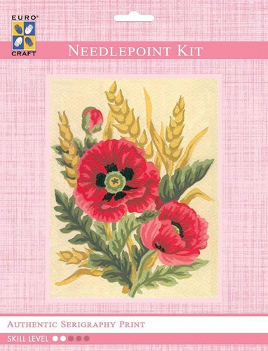 3116K - Eurocraft NEEDLEPOINT KIT 14x18cm Poppies and Wheat