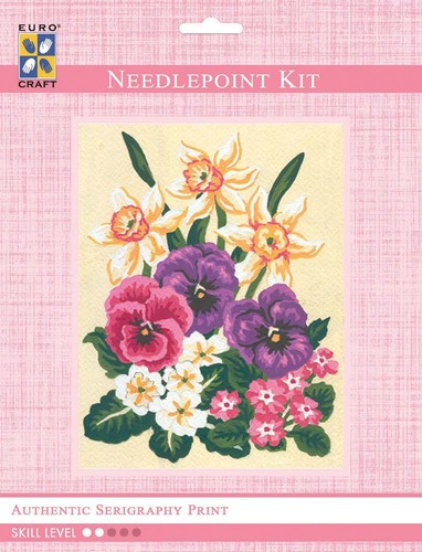 3117K - Eurocraft NEEDLEPOINT KIT 14x18cm Daffodils and Pansies