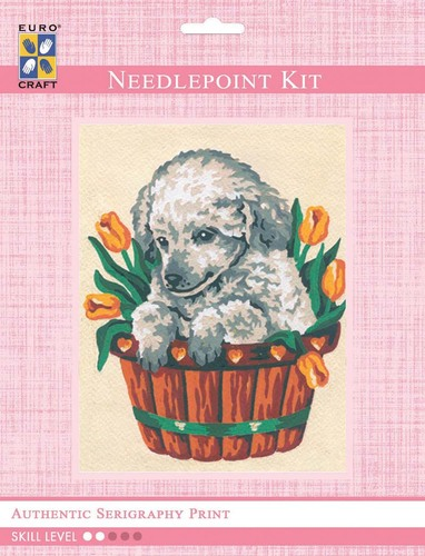 3136K - Eurocraft NEEDLEPOINT KIT 14x18cm Puppy in Tulips