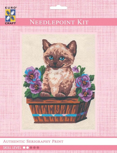 3139K - Eurocraft NEEDLEPOINT KIT 14x18cm Kitten in Flower Box