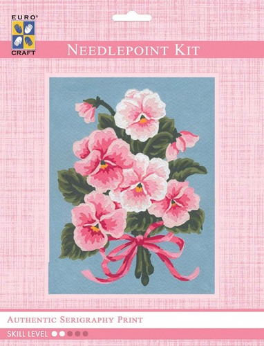 3143K - Eurocraft NEEDLEPOINT KIT 14x18cm Pink Floral Bouquet