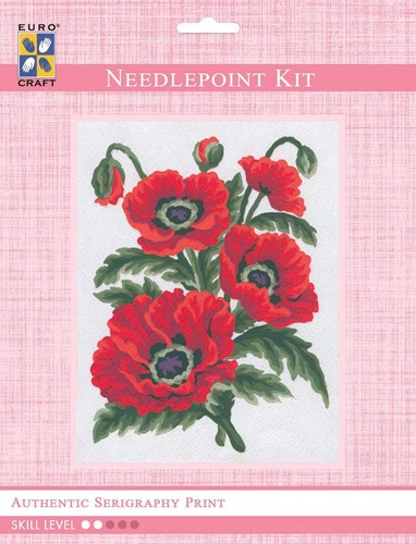 3149K - Eurocraft NEEDLEPOINT KIT 14x18cm Poppies