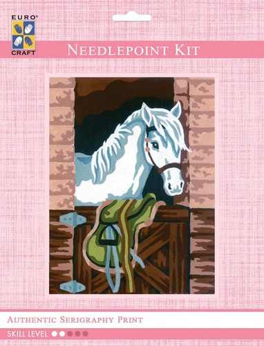3165K - Eurocraft NEEDLEPOINT KIT 14x18cm White Pony in Stable