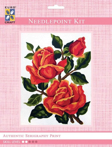 3186K - Eurocraft NEEDLEPOINT KIT 14x18cm Orange Roses