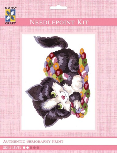 3192K - Eurocraft NEEDLEPOINT KIT 14x18cm Patchwork Kitten