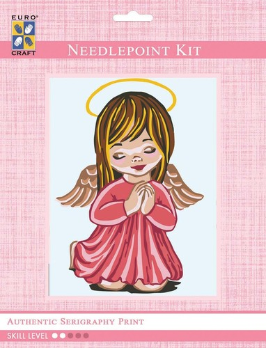 3202K - Eurocraft NEEDLEPOINT KIT 14x18cm Angel Girl Praying