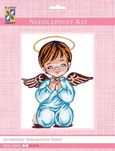 3203K - Eurocraft NEEDLEPOINT KIT 14x18cm Angel Boy Praying