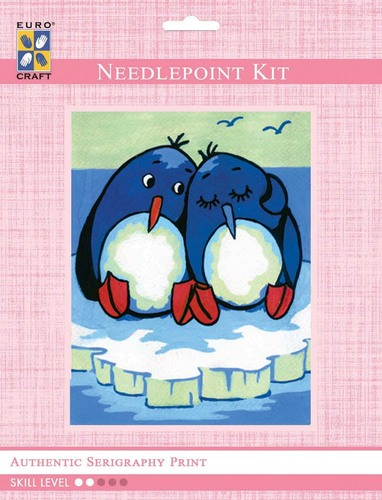3206K - Eurocraft NEEDLEPOINT KIT 14x18cm Penguin Buddies