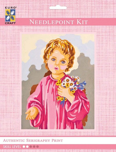 3222K - Eurocraft NEEDLEPOINT KIT 14x18cm Child with Flowers