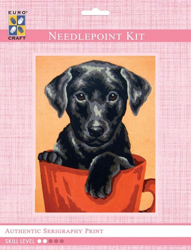 3271K - Eurocraft NEEDLEPOINT KIT 14x18cm Black Puppy