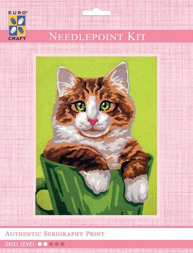 3272K - Eurocraft NEEDLEPOINT KIT 14x18cm Ginger and White Cat